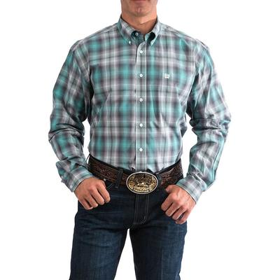 Cinch Men's Teal Plaid Shirt