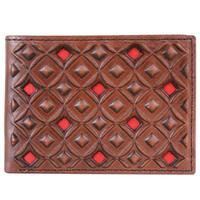 Hooey Men's Signature Brown and Red Bifold Wallet