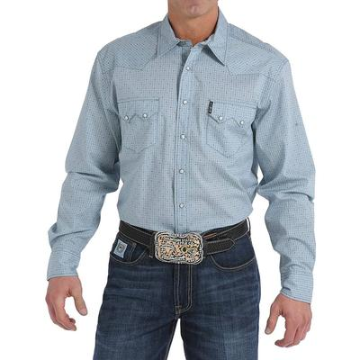 Cinch Men's Light Blue Geometric Shirt