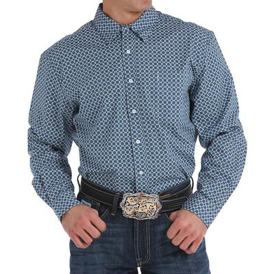 Cinch Men's Teal Blue And White Geometric Shirt