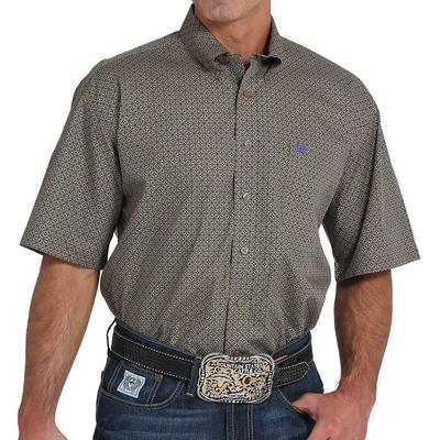 Cinch Men's Tan And Purple Classic Fit Shirt