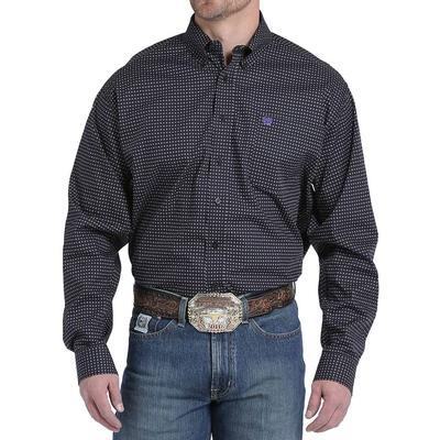 Cinch Men's Black Purple And Khaki Geometric Shirt
