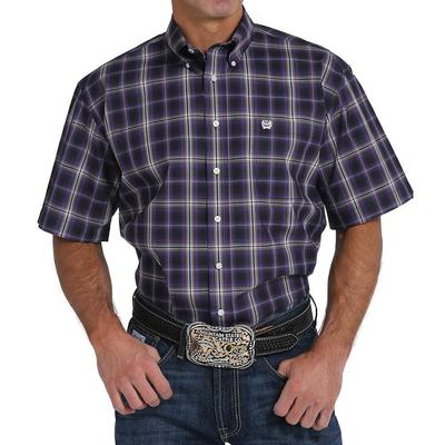 Cinch Men's Purple And Khaki Plaid Shirt
