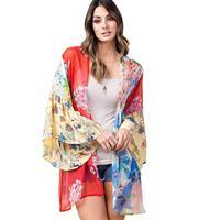 Kori America Women's Bell Sleeve Chiffon Kimono