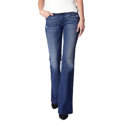 7 For All Mankind Women's Lake Blue Tailorless Dojo Trouser Jeans