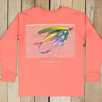 Southern Marsh Boy's Coral Fly Fishing Long Sleeve Tee