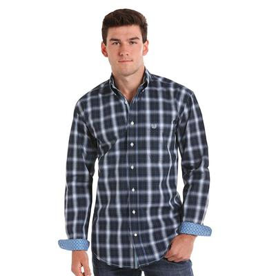 Panhandle Men's Dark Blue Plaid Shirt