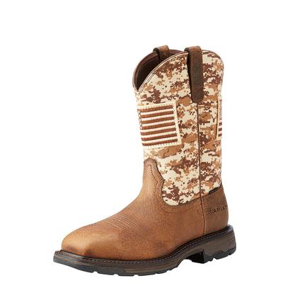 Ariat Men's Workhog Patriot With Flag Steel Toe Boots