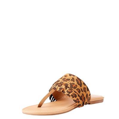 Ariat Women's Stella Leopard Suede Fringe Flip Flops