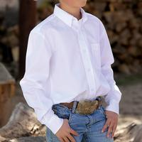 Cinch Boy's White Long Sleeve Shirt