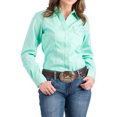 Cinch Women's Green Solid Long Sleeve Shirt
