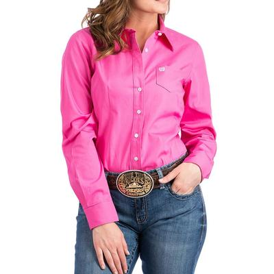 Cinch Women's Pink Solid Long Sleeve Shirt