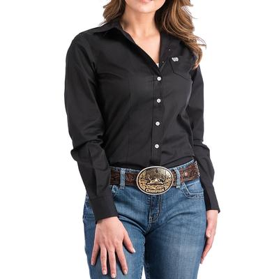 Cinch Women's Black Solid Long Sleeve Shirt