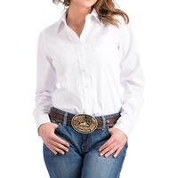 Cinch Women's White Solid Long Sleeve Shirt