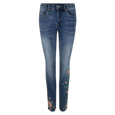 Esqualo Women's Floral Embroidered Jeans