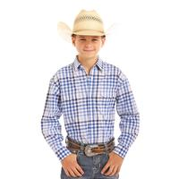 Panhandle Boy's Blue and White Plaid Snap Shirt