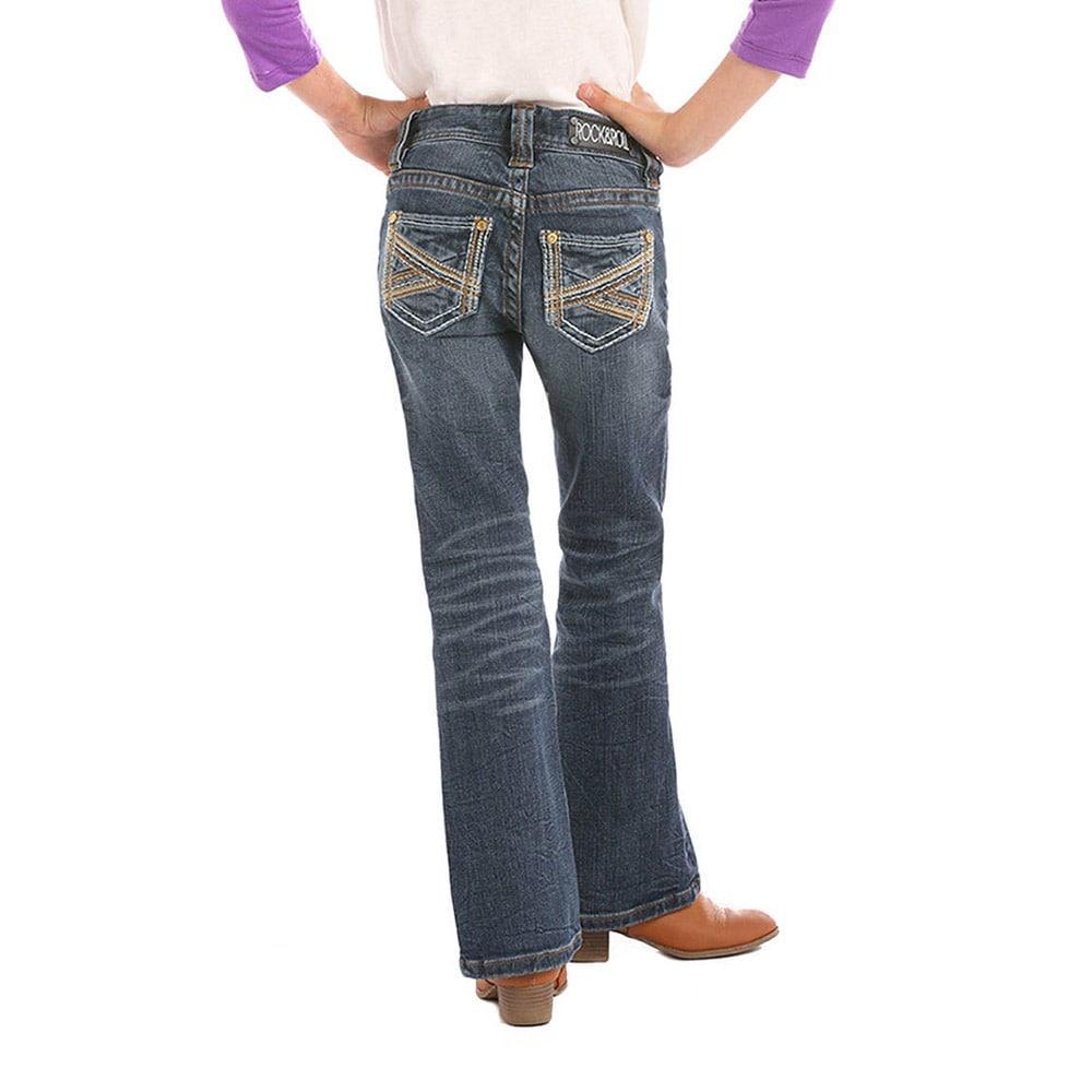 rock roll denim girl s dark wash stitched jeans