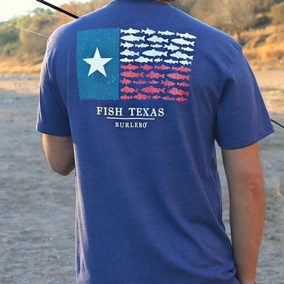 Burlebo Men's Fish Texas Flag T- Shirt