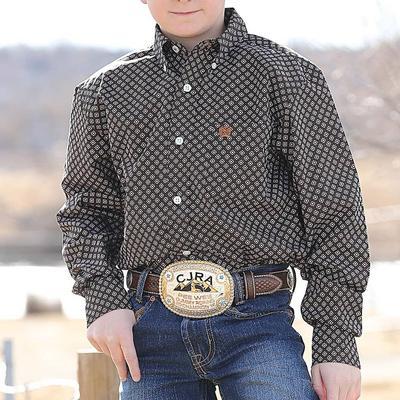 Cinch Boy's Black and Brown Geometric Print Shirt BLK