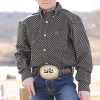 Cinch Boy's Black and Brown Geometric Print Shirt