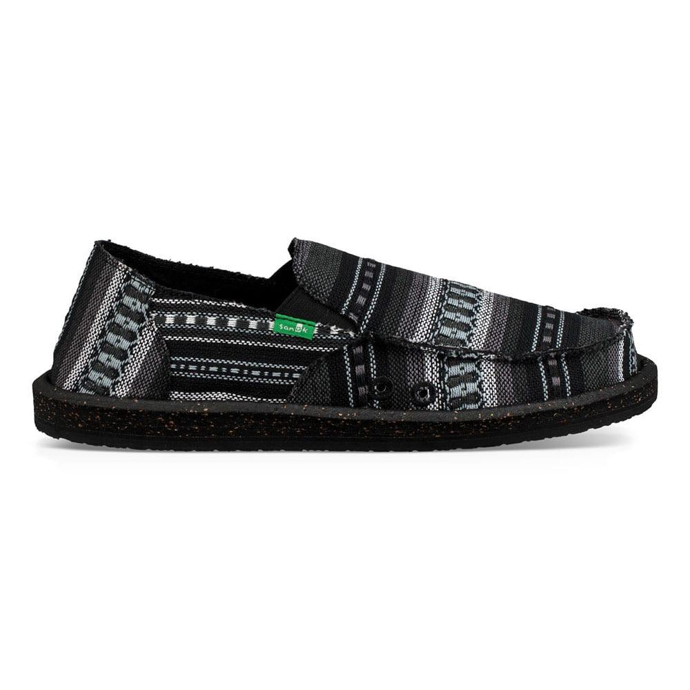 68c3492235 Sanuk Men s Black Vagabond Funk Canvas Slip On Shoes