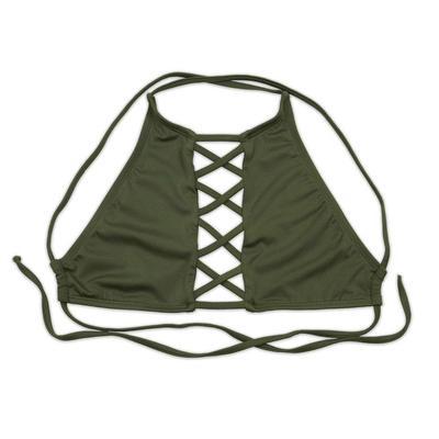Dippin' Daisy's High Neck Criss Cross Bikini Top OLIVE