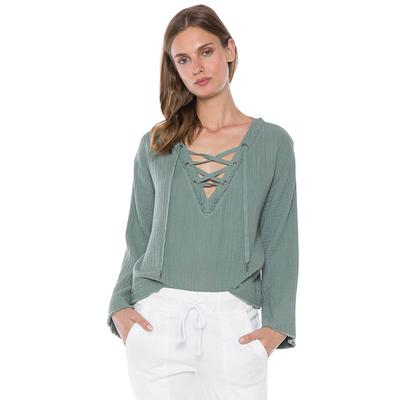 Bella Dahl Women's Bell Sleeve Lace Up Top