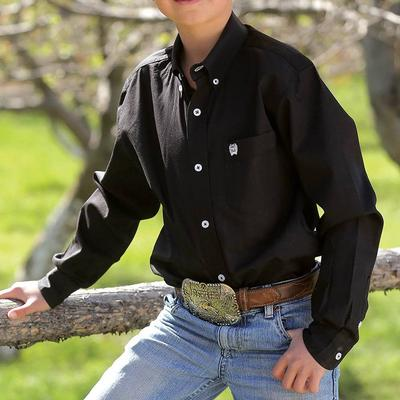 Cinch Boy's Black Solid Long Sleeve Shirt