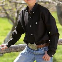 Cinch Boy's Black Solid Long Sleeve Shirt