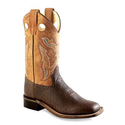 Old West Kid's Tumble Tan Square Toe Boots