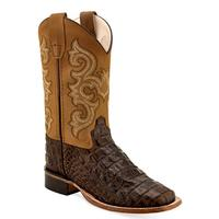 Old West Boy's Caiman Print Boots