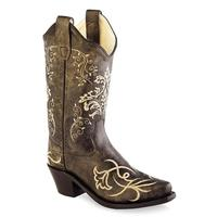 Old West Kid's Vintage Embroidered Snip Toe Boots