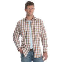 Wrangler Men's Orange Plaid Wrinkle Resistant Shirt