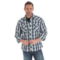 Wrangler Men's Black Plaid Snap Shirt
