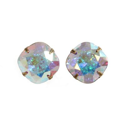 Pink Panache's Bronze Cushion Cut Crystal Stud Earrings