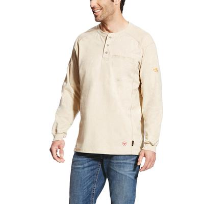 Ariat Men's Sand Heather Fr Air Henley Shirt