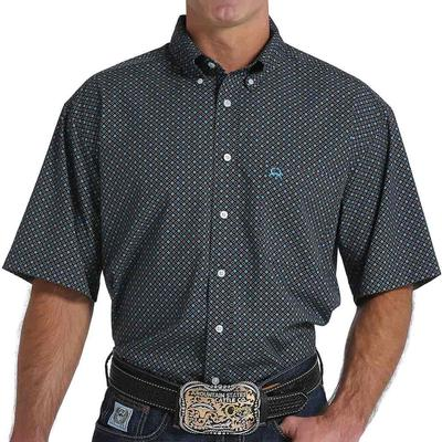Cinch Men's Arenaflex Black And Turquoise Geo Print Shirt