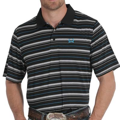Cinch Men's Arenaflex Black Striped Polo