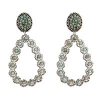 Pink Panache's Turquoise and Silver Floral Teardrop Earring
