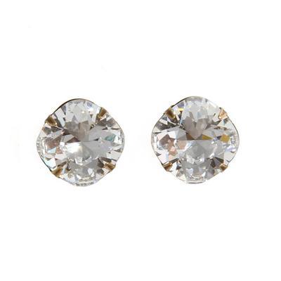 Pink Panache's Bronze Cushion Cut Clear Crystal Stud Earrings