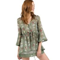 POL Women's Chiffon Leaf Print Top