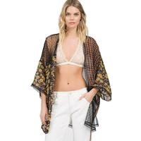 POL Women's Floral and Checker Kimono