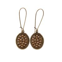 Pink Panache's Bronze and Crystal Oval Earrings