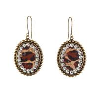 Pink Panache's Small Bronze Leopard and Crystal Oval Earrings