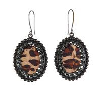 Pink Panache's Black Leopard and Crystal Earring