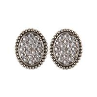 Pink Panache's Mini Silver Crystal Oval Post Earrings
