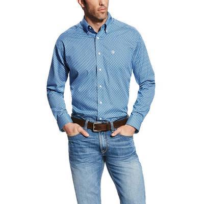 Ariat Men's Wrinkle Free Blue Saga Kirk Shirt