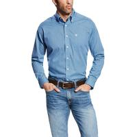 Ariat Men's Wrinkle Free Blue Saga Kirk Shirt