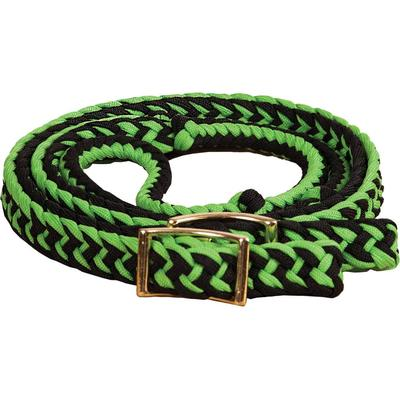 Mustang Mfg. Braided Barrel Rein with Knots in Black/Lime