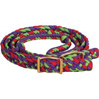 Mustang Mfg. Braided Barrel Rein with Knots, Assorted Colors